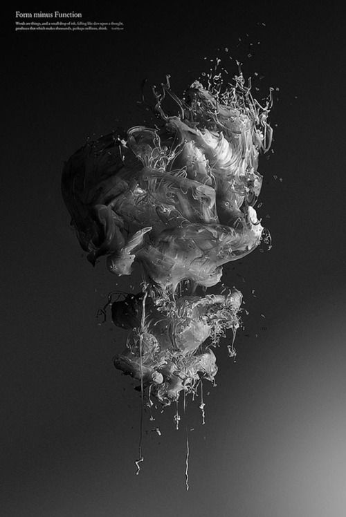 "Experimental Photomanipulations  An experinental project by Paul Hollingworth.    ""A series of self-initiated images titled 'Form minus Function'.  It's fair to say that type and ink only ever meet on a printed page. In this series of images, the two elements are presented to us in a way that is a little more unusual. Images of black and white ink in water are accompanied by small typographical letters to generate strange yet captivating forms that appear to float effortlessly in the"