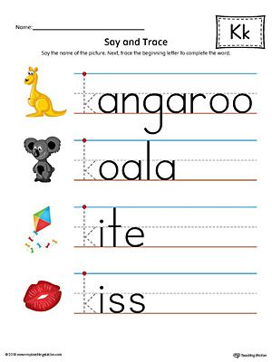 Say and Trace Letter K Beginning Sound Words Worksheet