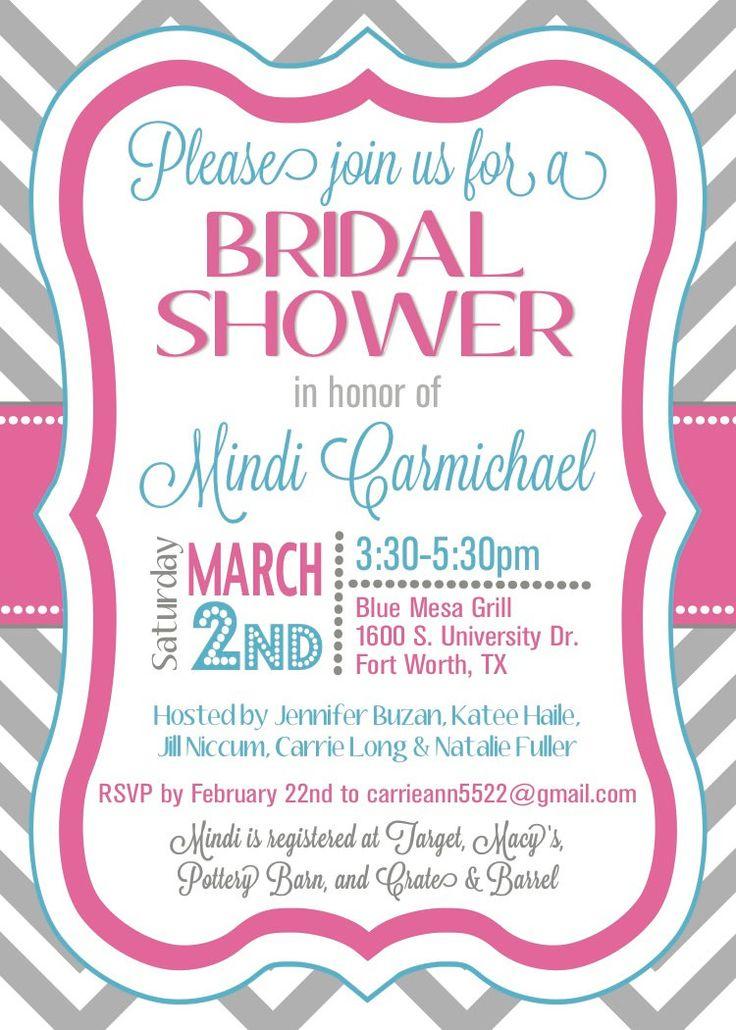 custom chevron bridal shower invitation..SO CUTE! AND ITS MY FIRST NAME!! Haha
