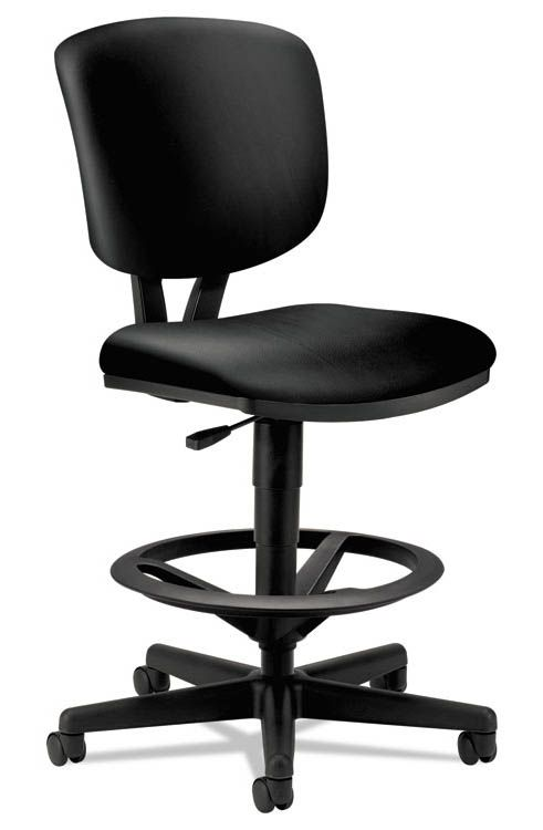 Cheap Adjustable Leather Task Stool by HON Small Office - Cheap Black Furniture