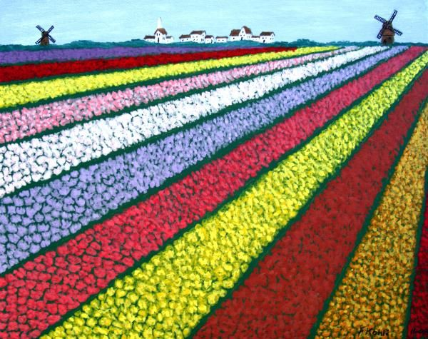 Tulip Fields Painting - Tulip Fields Fine Art Print. One point perspective. 5th