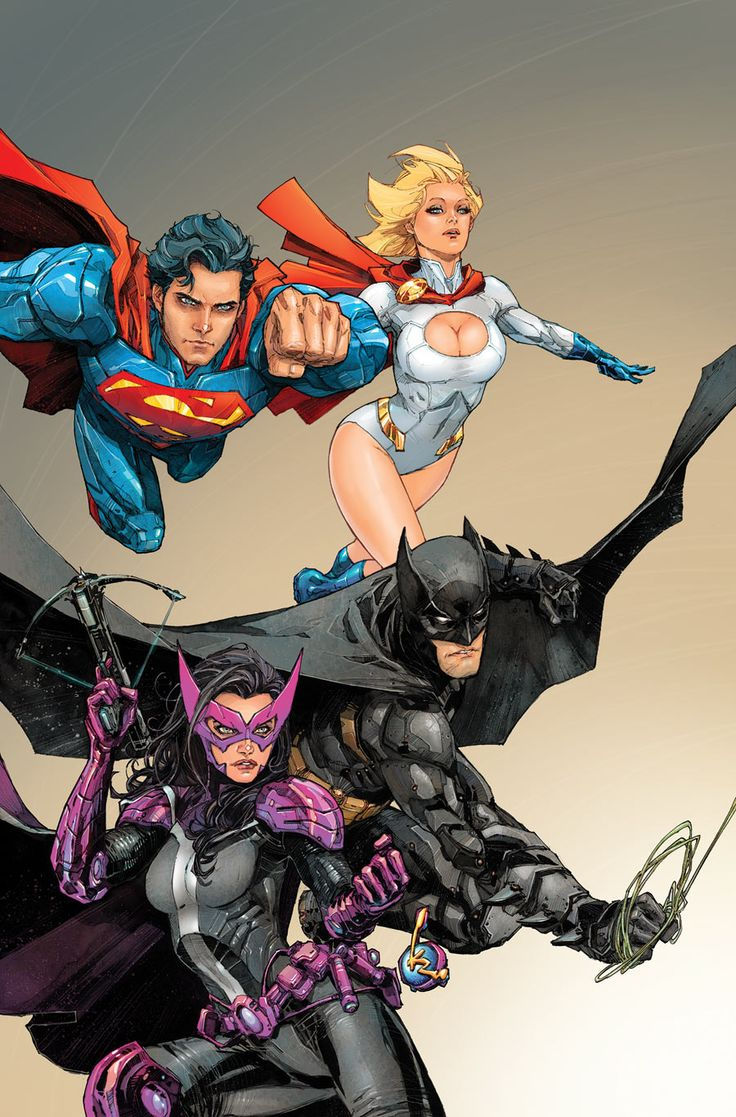 Superman, Power Girl, Huntress & Batman - Kenneth Rocafort