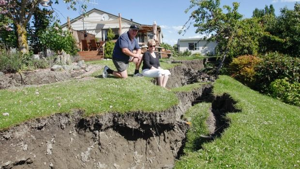 A fissure from the earthquake runs through the back yard of Barney and Deb Muir's Kaikoura home.
