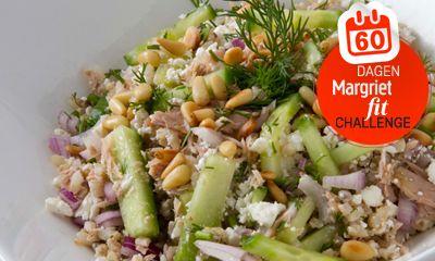 Een makkelijk en gezond gerecht! Wat heb je nodig? 75 gram rijst Inhoud van een blikje tonijn (in water, wel…