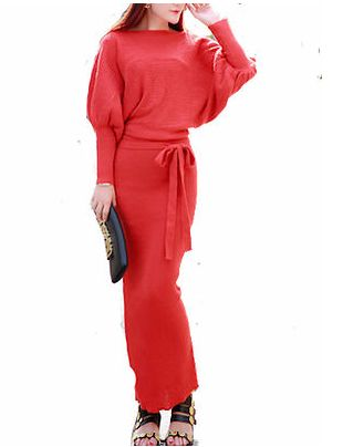 Maxi knitted wool dress in red, black and cream #dress #fashion #warm #fashion trends online