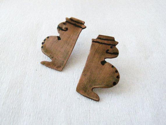 Copper stud earrings  Summer earrings  Little  by PikipokaJewelry
