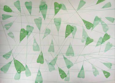 "Saatchi Art Artist Jitka Anlaufova; Painting, ""Shepherd's purse"", Acrylic and Watercolor on paper, 60x84cm."