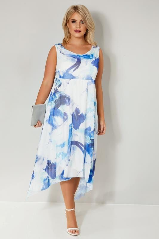 0df6187bd39 YOURS - YOURS LONDON Blue   White Abstract Print Mesh Hanky Hem Dress - 2018