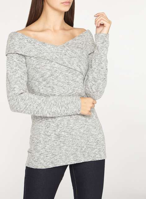 **Tall Grey Cross Front Bardot Top - Tall Clothing - Clothing - Dorothy Perkins United States