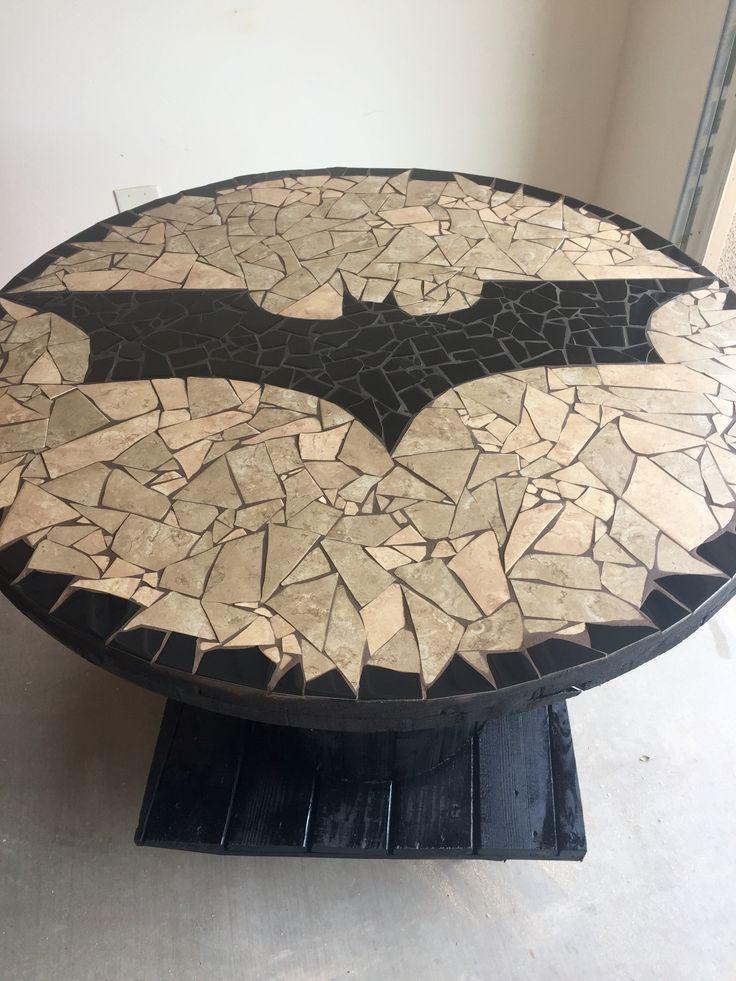 New Batman logo mosaic spool table
