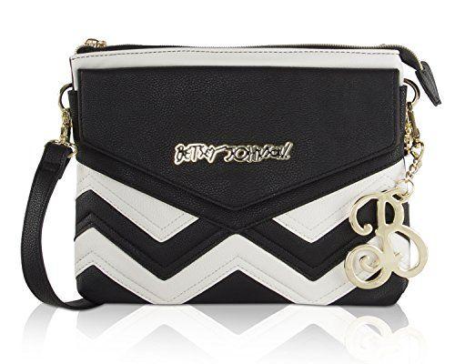 Betsey Johnson Chevron Multi Compartment Crossbody Bag Blackwhite Click Image To Review More