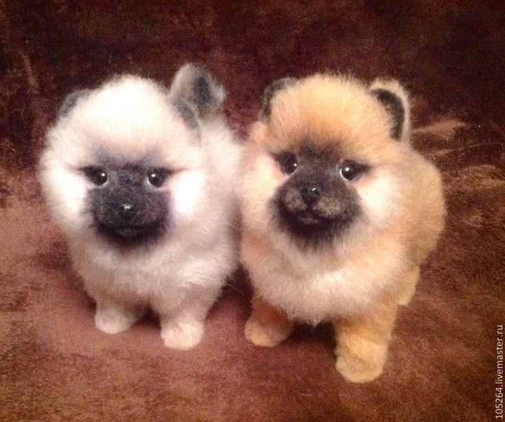 Купить Щеночек померанского шпица - щенок, собака, шпиц, авторская ручная работа, войлочная игрушка