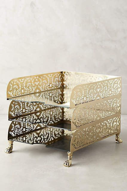 Currently Loving The Prettiest Gilded Desk Accessories Letter Holdergold Lettershome Decor
