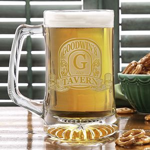 Personalized Beer Mug - Vintage Bar Sign deep etch design from PMall. Great Father's Day gift idea!