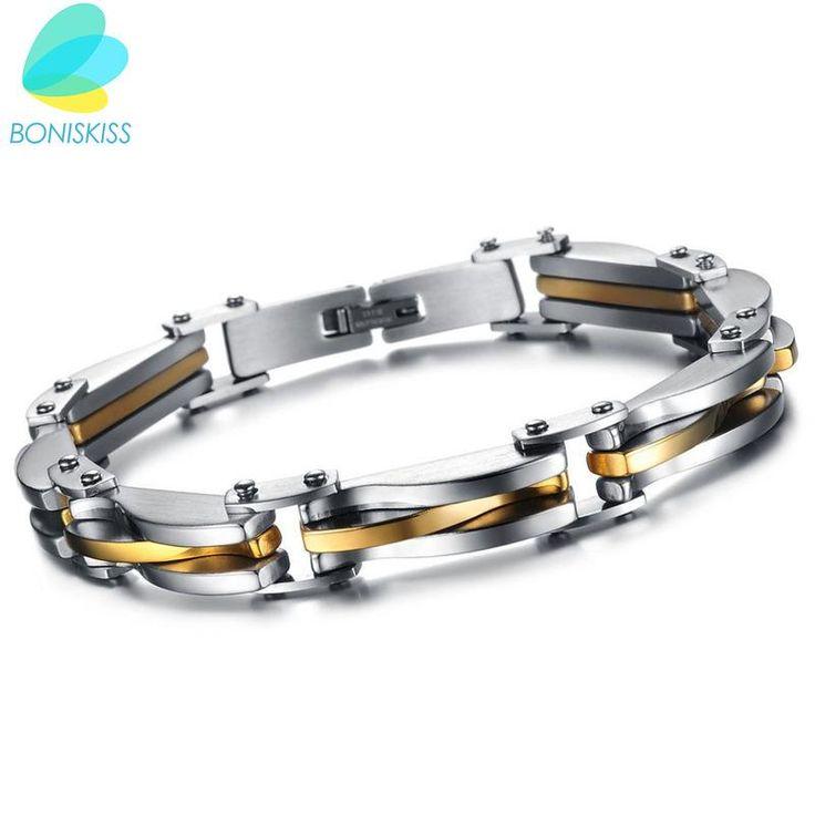 BONISKISS Punk Style 316L Stainless Steel Two Tone Mens Bracelet Link  | SATTAJ USA