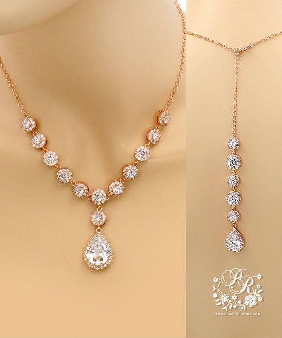 Bruiloft halsketting Rose gold plated Zirconia ketting Bridal