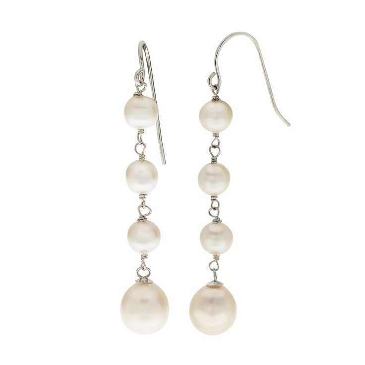 PearLustre by Imperial Freshwater Cultured Pearl Linear Drop Earrings, White