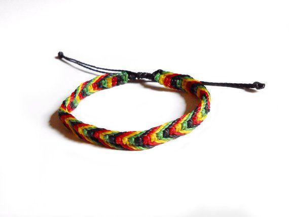 Andean Rainbow bracelets Rasta Braided Bracelet Black Bracelet Reggae Bracelet Jamaica Rasta Bracelet Rasta Handmde Bracelet