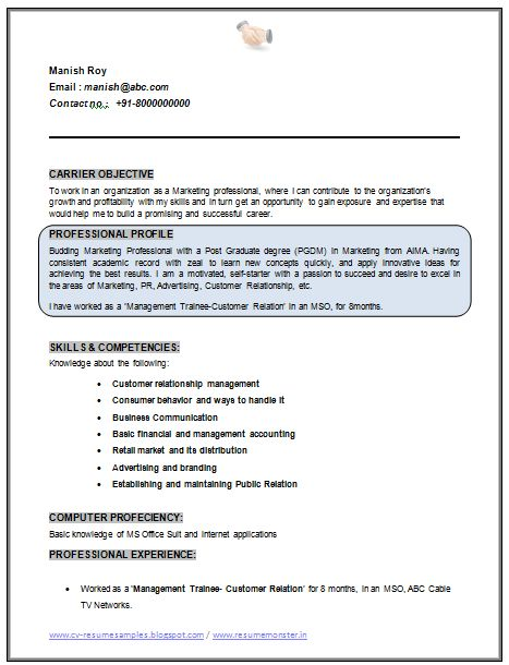 Professional Curriculum Vitae / Resume Template Sample Template Of Nice MBA  Marketing Fresher / No Experience