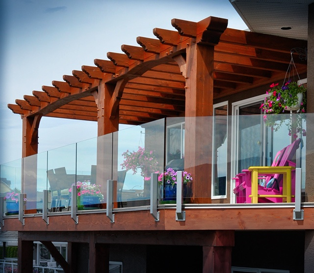Post And Beam Amp Timber Frame Decks Pergola Deck With