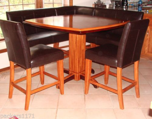 Leather Corner Bench Dining Table Set