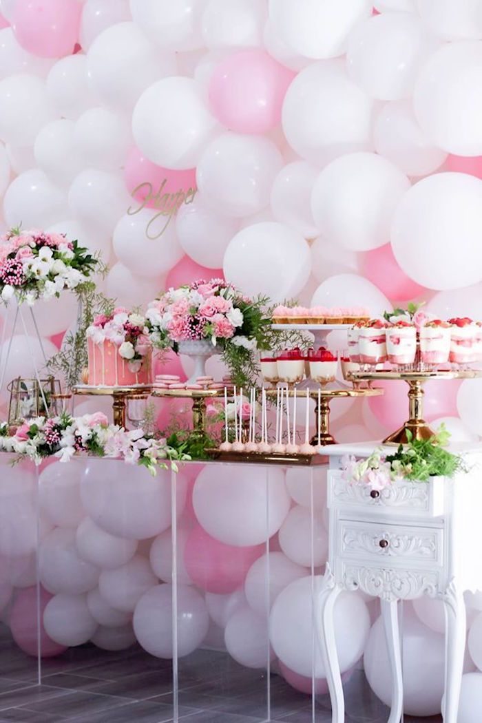 Baby Shower Sweet Table Ideas boy baby shower dessert table idea with blue pinwheels tablecloth and cupcake sticks Full View Of A Dessert Table From A Pink White Gold Garden Party