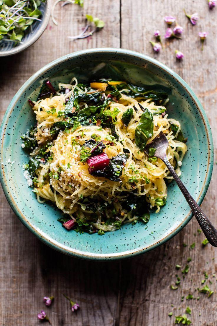 Spaghetti Squash Aglio E Olio with Rainbow Chard | halfbakedharvest.com