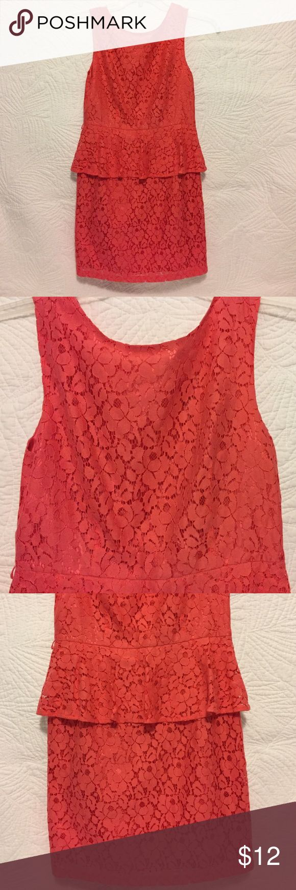 Forever 21 Lace Dress Forever 21 Lace Dress.  Gorgeous Coral/Orange Lace Dress, Zip Up back.  32 inches shoulder to hem.  Size Medium; belt loops on each side to accessorize with a belt from your closet (no belt included); Cotton/Polyester fabric. Forever 21 Dresses