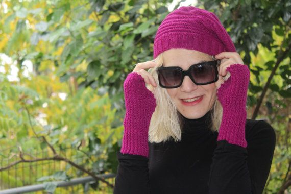 Fucsia Hand Knit Set  Slouchy Hat and Fingerless by ManibusFacta