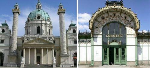 """Place Saint Charles : La """"Karlskirche"""" et l'un des deux pavillons d'accès à la station de métro """"Karlsplatz"""" conçus en 1899 par Otto Wagner dans le plus pur style """"Art Nouveau"""" #Otto #Wagner #pavillon #métro #Karlsplatz #art #nouveau"""