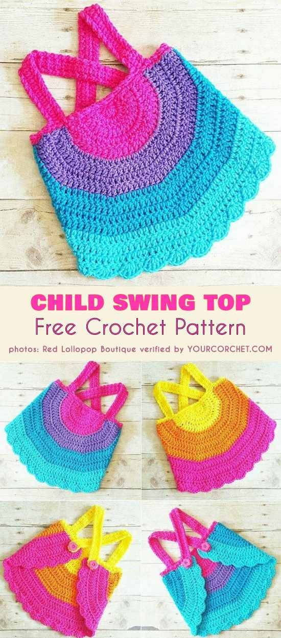 0b966f905e899f Rainbow Child Swing Top Free Crochet Pattern Halter Top Tank Backless Shirt  for Newborn Toddler Girl Summer outfit  freecrochetpatterns  summerstyle    ...
