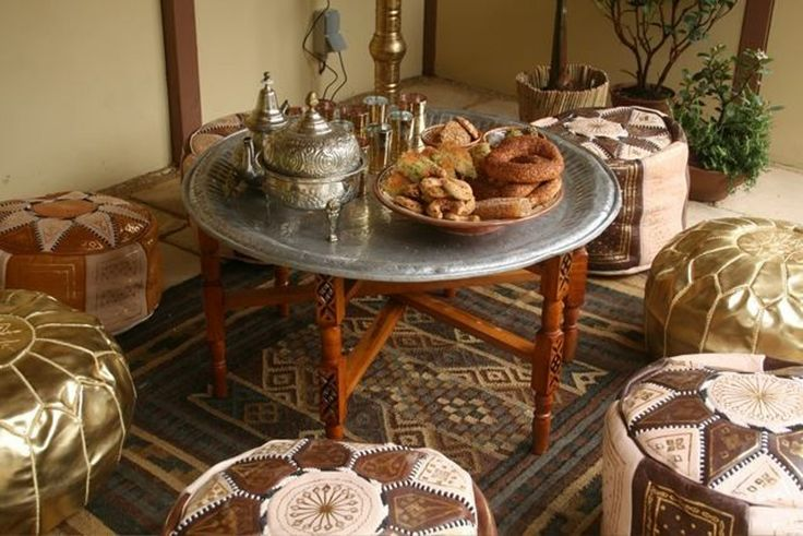 Moroccan table and poufs
