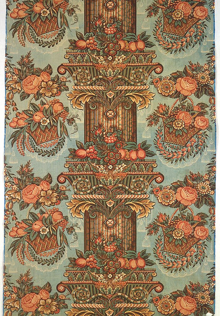 1835, British cotton.  Mary Koval has this print in blue and white