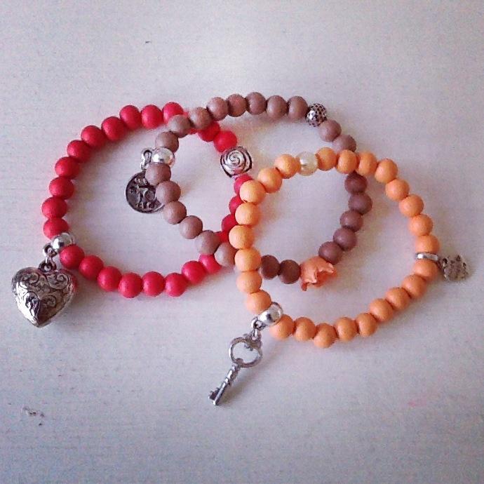 Setje: rood/taupe/oranje