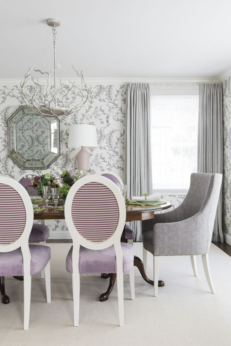 Laura Wilmerding Interiors Lilac And Black Dining Room