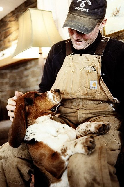 """Man and dog! We've had four Basset Hounds in the last 20 years! Best dogs ever! So gentle, so lazy, so sweet to everyone! Definitely """"Man's best friend!"""""""