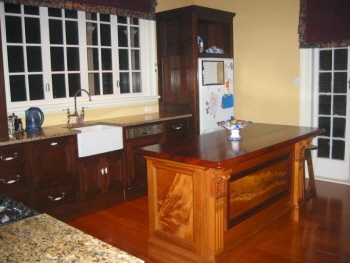 My Kitchen,island unit made of kauri ( New Zealand native timber)