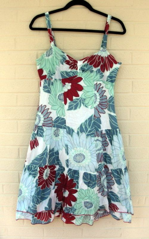 Cool cotton floral summer dress with layers and sweetheart ...
