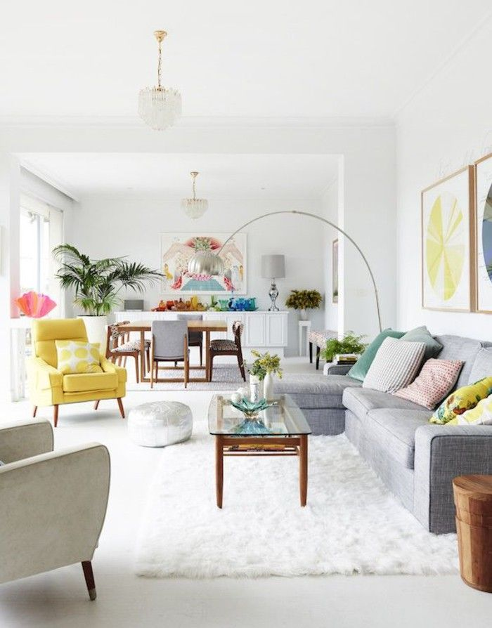 White wall paint living room white carpet of yellow Chair