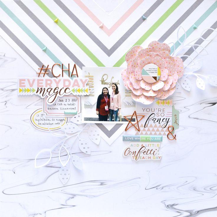 Everyday Magic scrapbook layout made with Pinkfresh Studio Live More collection.   Flora Monika Farkas