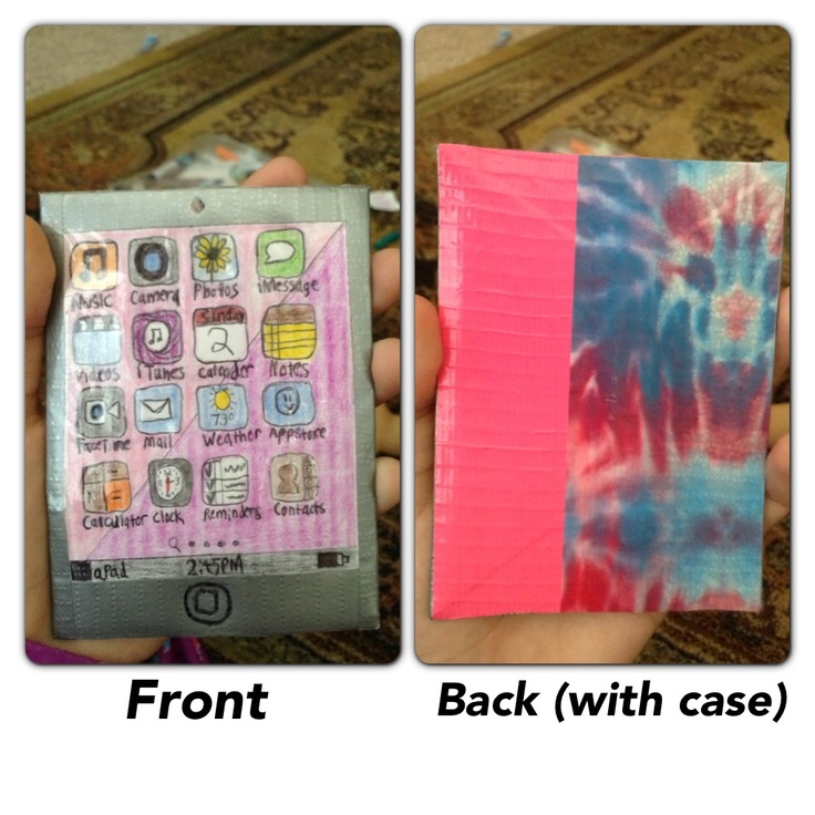 I made this iPad for an American Girl Doll with cardboard, a piece of white paper, duct tape,and packaging tape! First glue the paper to the front of the cardboard and trim down to size. Then cover the sides with gray, black, or white tape, I wouldn't recommend black tape as it would be hard to see the Home Button and the camera. Then decorate it with apps and add the camera and the home button all with a pen. Color them in with colored pencils. The on the back, cover the back with colored…
