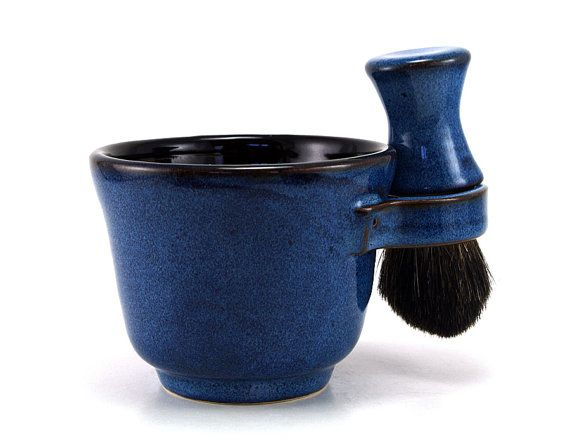 Black and Blue Mens Shaving Set: Shave Mug, Black Badger Hair Shave Brush and Shaving Soap, Unique Fathers Day Gift by MiriHardyPottery