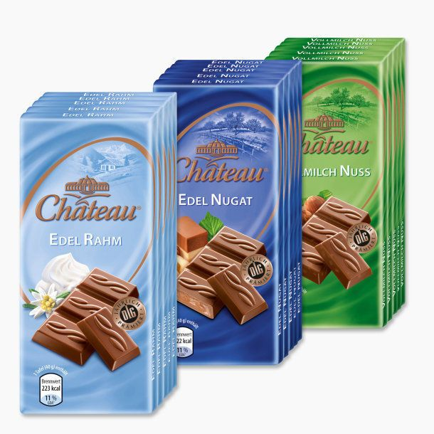 3 different sorts CHATEAU Chocolate mini 15 x 1.4 oz.(40g) Bars NEW from Germany #CHTEAU