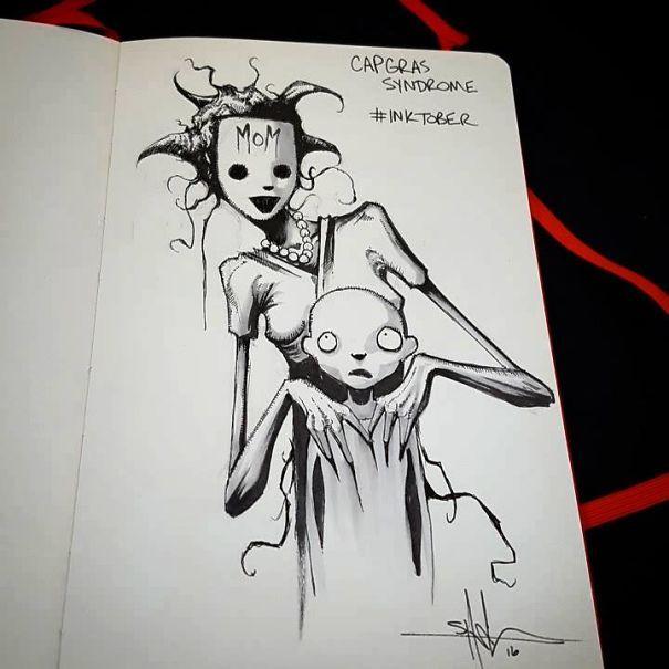 enfermedades mentales ilustradas por Shawn Coss durate el inktober 2016 15