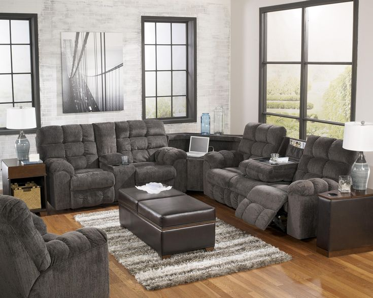 Signature Design By Ashley Acieona Slate Reclining Sectional With Left Side Loveseat Cup