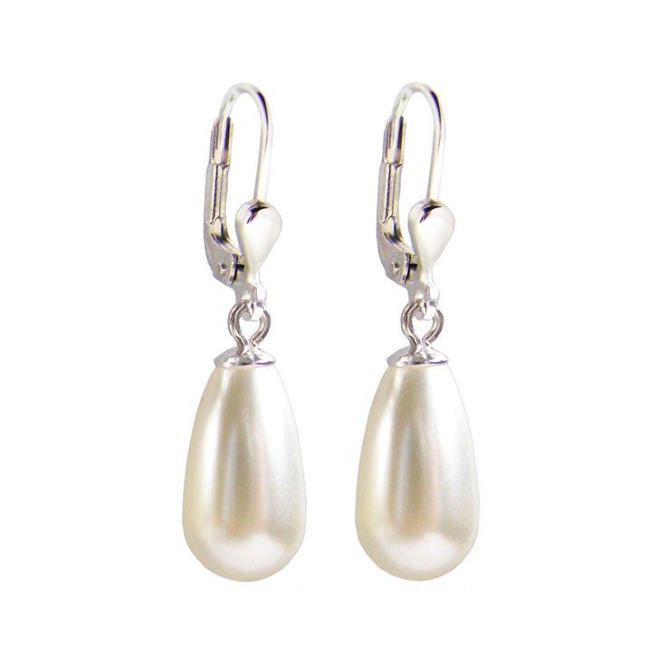 925 Silber Ohrringe mit synth. Perlen in Tropfenform, cremeweiß, Ohrhänger | OH-Ri01w / EAN:4250887400356