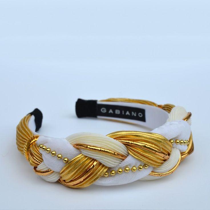 White/Gold Braided - 4cm wide. Also available in Black/Gold. #gabianona #whiteandgold #hairfashion #happyhead