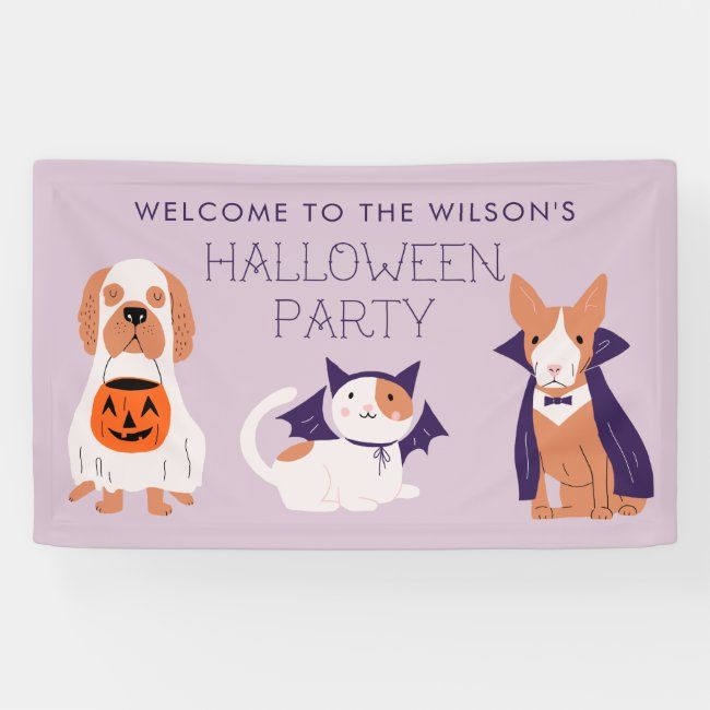 Cute Purple Pets Halloween Party Welcome Banner Zazzle Com In 2020 Pet Halloween Party Pet Halloween Costumes Halloween Animals