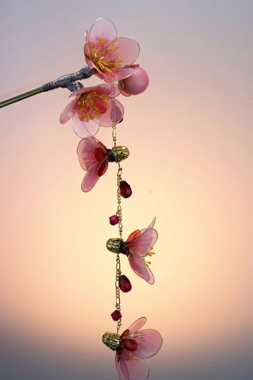 """「紅梅~紅雨~」かんざし Ornamental stick of the kimono hairstyle  """"Japanese apricot with…"""