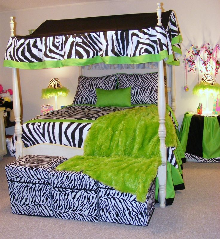 Full Size Teen Bedding Reversable Black And White Zebra Lime Green Bedding  With Canopy Premier Fabric Durable Pillow Skirt High Quality